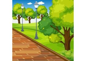 街道上有灯杆的空荡荡的公园户外场景_12364781