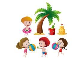 男孩和女孩在海滩上玩耍_1170729