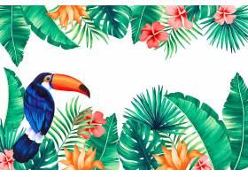 热带背景长有巨嘴鸟和异国情调的叶子_4881878