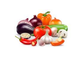 白色背景下的蔬菜写实构图配以番茄洋葱_4029361
