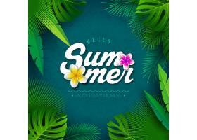 矢量你好热带棕榈叶夏季插图_4971872