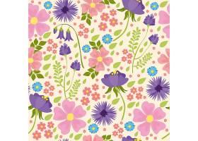 矢量无缝图案带有野花粉色和紫色的花朵_2883572