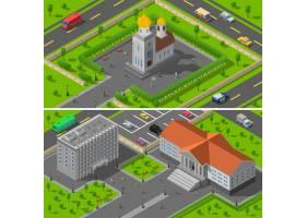 教会国家大厦等轴测2条横幅_3813233