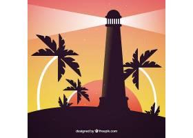 日落时的灯塔背景是棕榈树_1187685