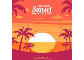 日落时的风景背景有棕榈树_1104798