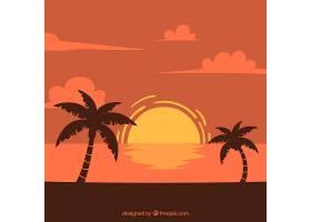 日落时的风景背景有棕榈树_1109627