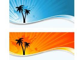 日落背景下棕榈树的轮廓_1090987