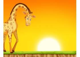 日落背景下的长颈鹿_4119852