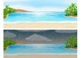 晴天和雨天的两幅海洋风景画_1250786