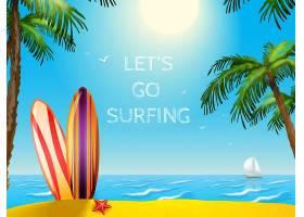 暑期旅游海报冲浪板背景_2872061