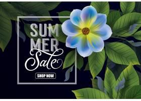 暑期特卖店现在正在刻字深色背景有花朵_2438917