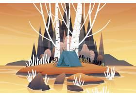 林区露营清晨日出的旅游帐篷湖光山色的自_13330449