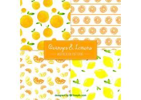 橙色和柠檬水彩画图案_1112995