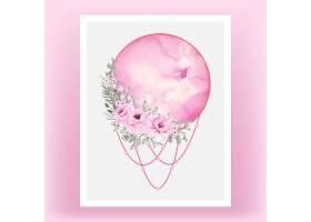 水彩画满月粉色带玫瑰花_12878554