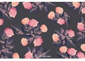 水彩画花卉无缝图案背景优美_5445523