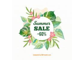 水彩画风格的夏季销售背景_2181420