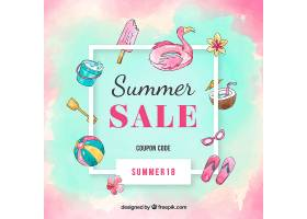 水彩画风格的夏季销售背景_2346181