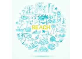 手绘海滩元素背景_1158983