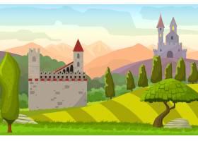 山上城堡中世纪风景画卡通插图_1053598