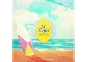 带冲浪板的美丽水彩画风景画_876510
