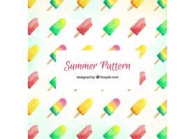 带有五颜六色冰激凌的夏日图案_2346213