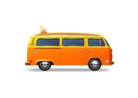 带有冲浪插板的橙色复古公交车_3949289