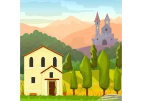 广场中世纪风景矢量卡通插图_1053591