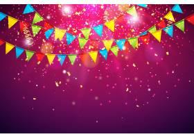 庆祝活动的背景是五颜六色的党旗和掉落的五_5128060
