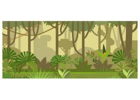 带有树木和植物的丛林景观插图_3297754