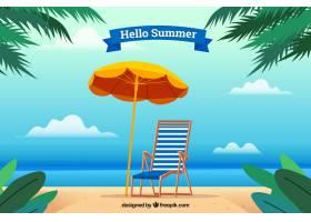 带有海滩元素的夏季背景_2146398