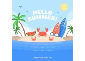 带有海滩景观和元素的夏季背景_2147128