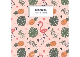 带有火烈鸟和菠萝的热带图案_2295155