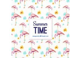 带有火烈鸟和鲜花的水彩画夏季图案_893968