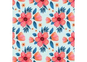 带有粉红色花叶的花卉图案_10126855