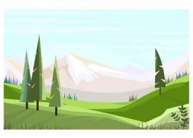 带有高大树木的绿色田野插图_3296550