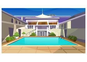 带游泳池插图的乡村别墅_3296502