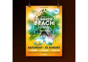带花朵和太阳镜的夏日沙滩派对传单设计_4971867