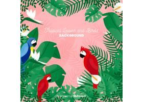2D热带树叶和鸟类背景_4256944