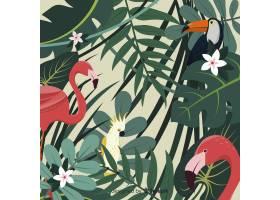 2D热带树叶和鸟类背景_4256946