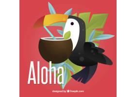 Aloha背景有巨嘴鸟和椰子_1160802