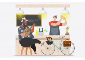 卡通人物设计夏天胖子心情好在酒吧前_1301884