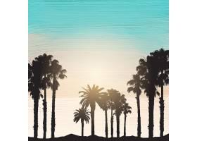 丙烯酸油漆背景上棕榈树的剪影_859114