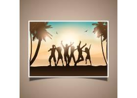 人们在海滩上跳舞的剪影_881649
