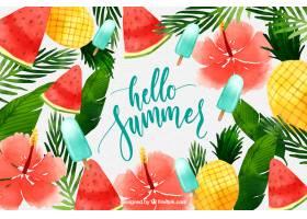 你好夏天的背景有水彩画风格的冰激凌和_2141508