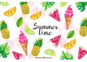 你好夏天的背景有水彩画风格的冰激凌和_2141525