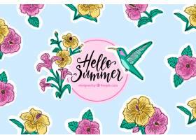 你好夏天的背景有鲜花和蜂鸟_2218977