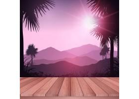 俯瞰热带风景的木质甲板_872823