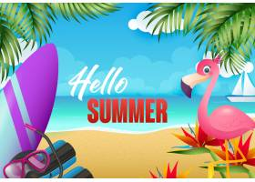 你好夏日传单设计火烈鸟冲浪板_4558977
