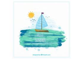你好夏日背景水彩画风格的帆船_2181316