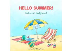 你好夏日背景水獭风格的海滩_2218966